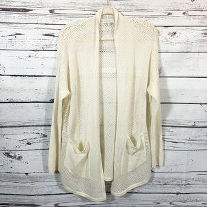 White + Warren Cashmere Open Knit Cardigan: Ivory